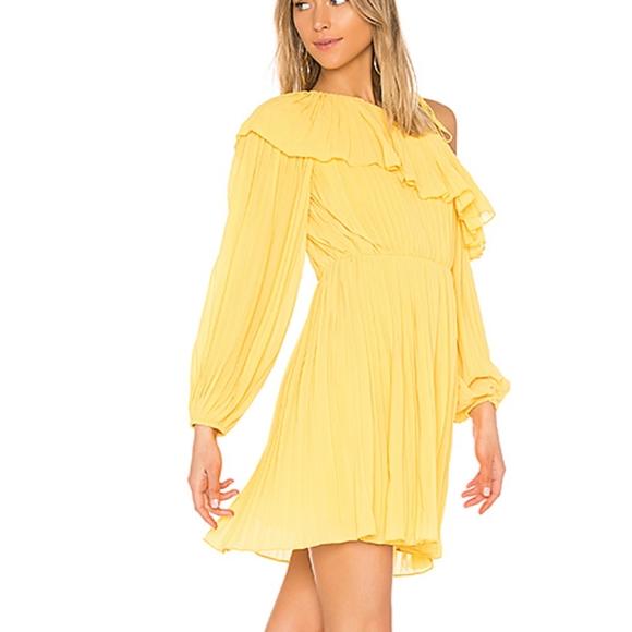 Endless Rose pleated one shoulder lemon dress NWT